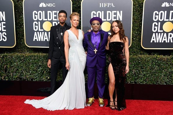 BEVERLY HILLS, CA - JANUARY 06:  (L-R) Jackson Lee, Tonya Lewis Lee, Spike Lee, and Satchel Lee attend the 76th Annual Golden Globe Awards at The Beverly Hilton Hotel on January 6, 2019 in Beverly Hills, California.  (Photo by Frazer Harrison/Getty Images)