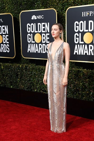 BEVERLY HILLS, CA - JANUARY 06:  Saoirse Ronan attends the 76th Annual Golden Globe Awards at The Beverly Hilton Hotel on January 6, 2019 in Beverly Hills, California.  (Photo by Frazer Harrison/Getty Images)
