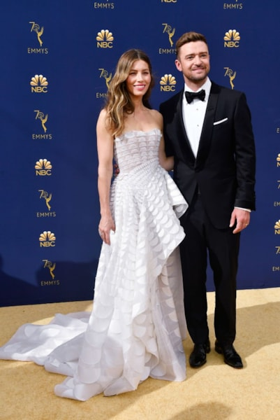 LOS ANGELES, CA - SEPTEMBER 17:  Jessica Biel (L) and Justin Timberlake attend the 70th Emmy Awards at Microsoft Theater on September 17, 2018 in Los Angeles, California.  (Photo by Frazer Harrison/Getty Images)