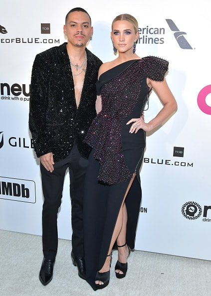 WEST HOLLYWOOD, CA - FEBRUARY 24: Evan Ross and Ashlee Simpson attend the 27th annual Elton John AIDS Foundation Academy Awards Viewing Party celebrating EJAF and the 91st Academy Awards on February 24, 2019 in West Hollywood, California.  (Photo by Amy Sussman/Getty Images)