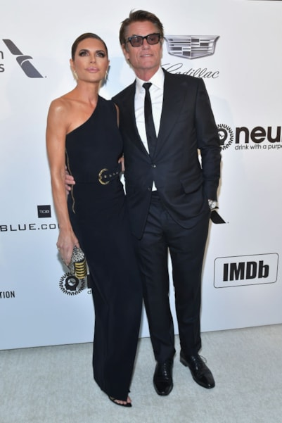 WEST HOLLYWOOD, CA - FEBRUARY 24:  Lisa Rinna (L) and Harry Hamlin attend the 27th annual Elton John AIDS Foundation Academy Awards Viewing Party celebrating EJAF and the 91st Academy Awards on February 24, 2019 in West Hollywood, California.  (Photo by Amy Sussman/Getty Images)