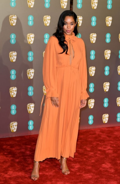 LONDON, ENGLAND - FEBRUARY 10:  Laura Harrier attends the EE British Academy Film Awards at Royal Albert Hall on February 10, 2019 in London, England. (Photo by Pascal Le Segretain/Getty Images)