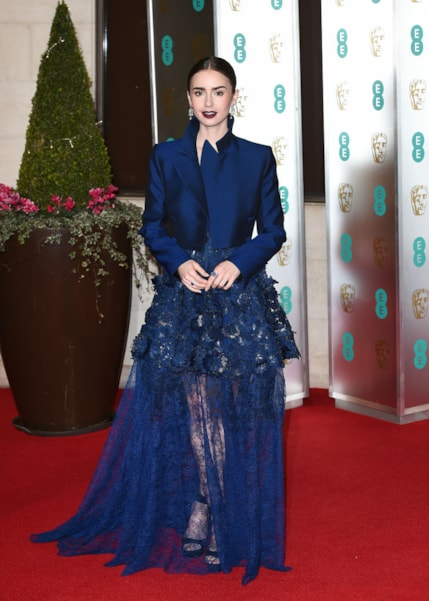 LONDON, ENGLAND - FEBRUARY 10: Lily Collins attends the EE British Academy Film Awards Gala Dinner at Grosvenor House on February 10, 2019 in London, England. (Photo by Eamonn M. McCormack/Getty Images)
