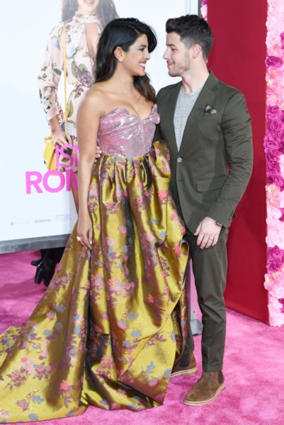 """LOS ANGELES, CALIFORNIA - FEBRUARY 11: Priyanka Chopra and Nick Jonas attend the premiere of  """"Isn't It Romantic"""" at The Theatre at Ace Hotel on February 11, 2019 in Los Angeles, California. (Photo by Amy Sussman/Getty Images)"""