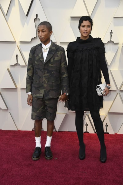 HOLLYWOOD, CALIFORNIA - FEBRUARY 24: Pharrell Williams and Helen Lasichanh attends the 91st Annual Academy Awards at Hollywood and Highland on February 24, 2019 in Hollywood, California. (Photo by Frazer Harrison/Getty Images)