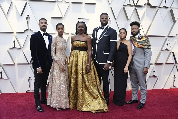 HOLLYWOOD, CALIFORNIA - FEBRUARY 24: Michael B. Jordan and Black Panther cast attends the 91st Annual Academy Awards at Hollywood and Highland on February 24, 2019 in Hollywood, California. (Photo by Frazer Harrison/Getty Images)