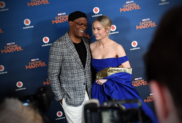 """LONDON, ENGLAND - FEBRUARY 27:  Brie Larson and Samuel L. Jackson attend the UK Gala Screening of Marvel Studios' """"Captain Marvel"""" at The Curzon Mayfair on February 27, 2019 in London, England. (Photo by Gareth Cattermole/Gareth Cattermole/Getty Images for Disney)"""
