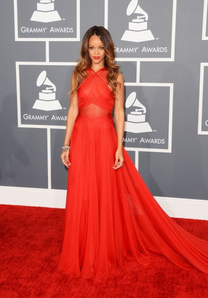 LOS ANGELES, CA - FEBRUARY 10:  Singer Rihanna arrives at the 55th Annual GRAMMY Awards at Staples Center on February 10, 2013 in Los Angeles, California.  (Photo by Jason Merritt/Getty Images)