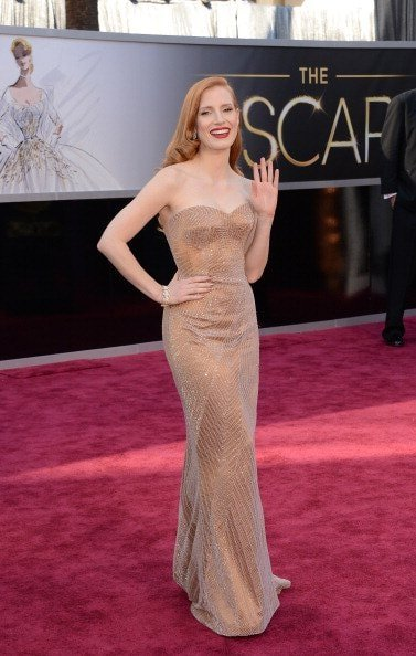 Jessica Chastain in Armani Prive (Photo by Jason Merritt/Getty Images)