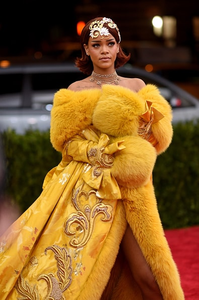 """NEW YORK, NY - MAY 04:  Rihanna attends the """"China: Through The Looking Glass"""" Costume Institute Benefit Gala at the Metropolitan Museum of Art on May 4, 2015 in New York City.  (Photo by Dimitrios Kambouris/Getty Images)"""
