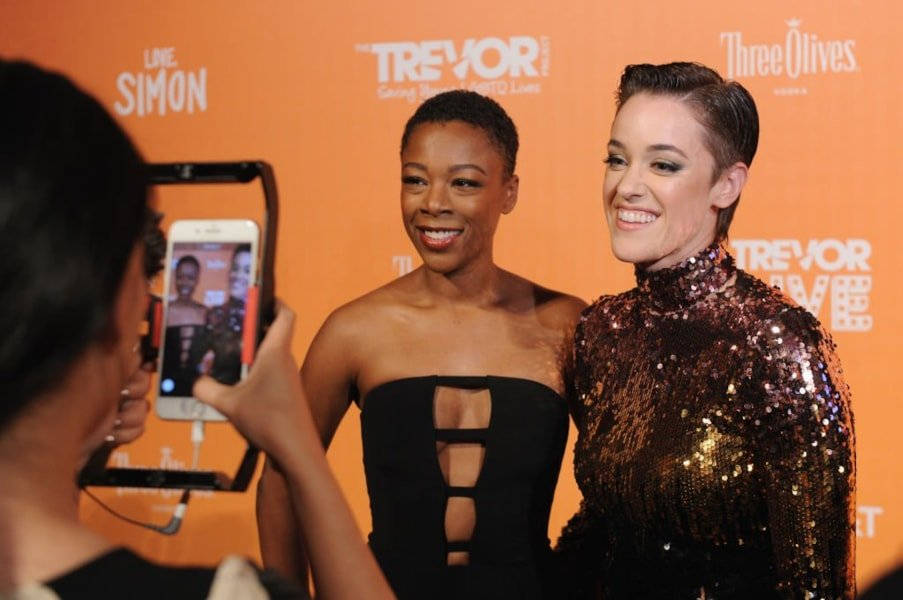 NEW YORK, NY - JUNE 11:  (L-R) Samira Wiley and Lauren Morelli attend The Trevor Project TrevorLIVE NYC at Cipriani Wall Street on June 11, 2018 in New York City.  (Photo by Craig Barritt/Getty Images for The Trevor Project)