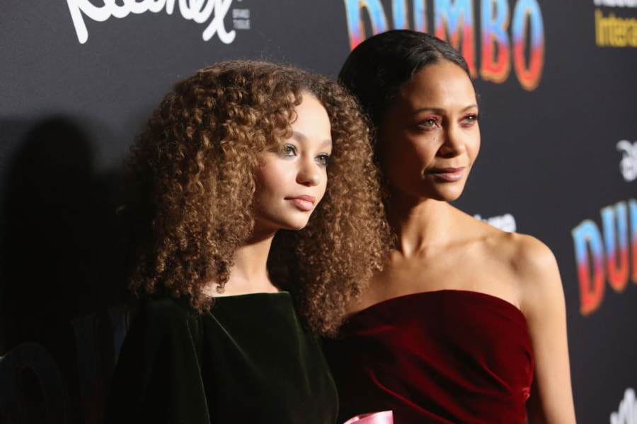 """LOS ANGELES, CA - MARCH 11: Actors Nico Parker (L) and Thandie Newton attend the World Premiere of Disney's """"Dumbo"""" at the El Capitan Theatre on March 11, 2019 in Los Angeles, California.  (Photo by Jesse Grant/Getty Images for Disney)"""